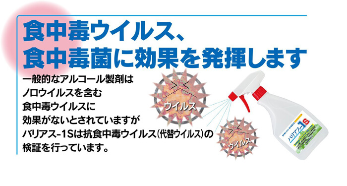 食中毒ウイルス食中毒菌に効果を発揮 食品添加物 除菌剤「バリアス-1S」説明